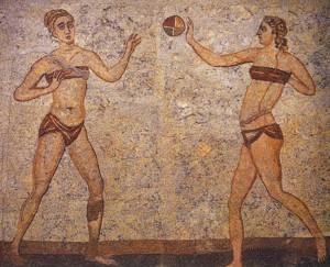 Gioco con la palla. Mosaico di Villa del Casale, Piazza Armerina (Sicilia), IV d.C.