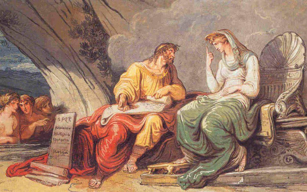 Numa Pompilio parla con la ninfa Egeria che gli dona le leggi di Roma (mos maiorum). Felice Giani 1806