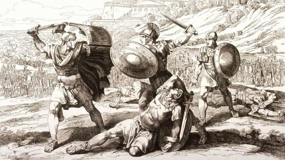 Battaglia fra Oratii e Curatii sotto il regno di Tullo Ostilio - Bartolomeo Pinelli - 19° sec.